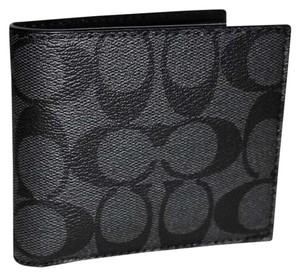 Coach Signature Compact ID Double Billfold Charcoal Black Wallet F74993
