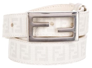 Fendi Ivory woven canvas Zucchino monogram Fendi belt