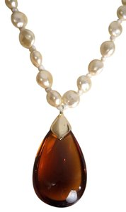 Faux Pearl Amber Glass Tear Drop Pendant Runway Necklace