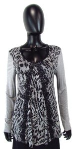 Cupio Animal Print Lace Black Top Gray