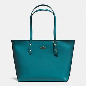Coach Shoulder Tote in Atlantic Blue Gold Tone