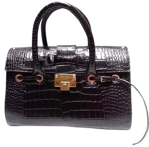 Jimmy Choo Suede Lining Zip And Pockets Flap Top Logo-engraved Croc-print Leather Satchel in Black