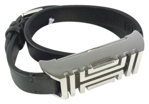 Tory Burch Tory Burch 12155921 Black Leather Silver FitBit Holder Double Bracelet
