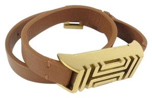 Tory Burch Tory Burch 12155921 Tan Leather Gold FitBit Holder Double Bracelet