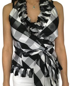 Lauren Ralph Lauren Holiday Party Checkered Tie Ruffle Top Black and white