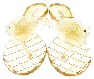 Chanel Jelly Camellia Interlocking Cc Silver Hardware Glitter Yellow Sandals