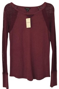 Lucky Brand Woven Sleeves Top Burgundy