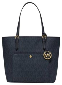 Michael Kors Jet Set Item East West Snap Pocket Jet Set Travel Tote in Blatic Blue Gold tone