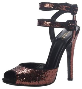 Gucci 353774 Glitter Sandals 8.5 Bronze Pumps