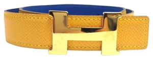 Hermès 24 Mm Gold Polished Yellow on Blue Reversible Belt