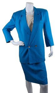 Dior Christian Dior Royal Blue Cotton Blend Skirt Suit, Size 6 (28486)