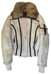 Chip and Pepper Fur Leather destroyed off-white Leather Jacket