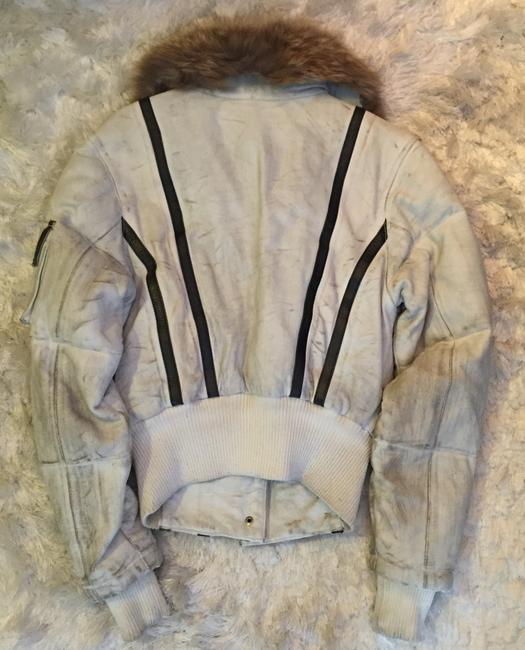 Chip and Pepper Fur destroyed off-white Leather Jacket