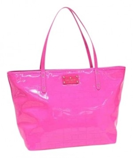 Preload https://item4.tradesy.com/images/kate-spade-signature-punched-coal-zinnia-pink-patent-leather-tote-183523-0-0.jpg?width=440&height=440