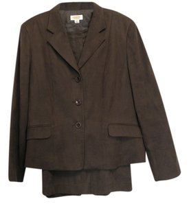 Talbots Brown suede-look suit