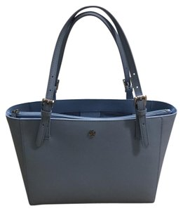 Tory Burch Leather Saffiano Tote in Light Blue