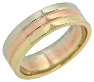 Tiffany & Co. Tiffany & Co 14K Tri-Color White Rose Yellow Gold 6mm Ribbed Wedding Ring Sz7.5