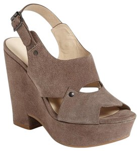 See by Chloé Chic Suede Sky High Taupe/Tan/Gray Platforms