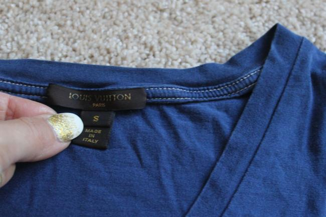 Louis Vuitton Stephen Sprouse Monogram Logo V-neck Embroidered T Shirt Blue, white