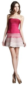 Hervé Leger Bandage Flare Ombre Scalloped Strapless Dress