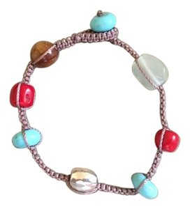Peyote Bird Woven Peyote Bird Turquoise Coral Bead Bracelet