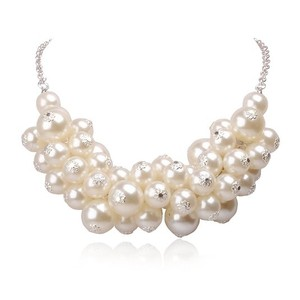 (3) Faux Pearl Cluster Statement Necklaces
