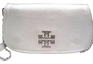Tory Burch Flap Front Double-t Silver Metallic Clutch