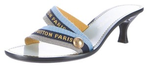 Louis Vuitton Monogram Gold Hardware Lv Blue, Black Sandals