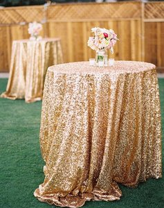 48 Inch Round Gold Sequin Tablecloth
