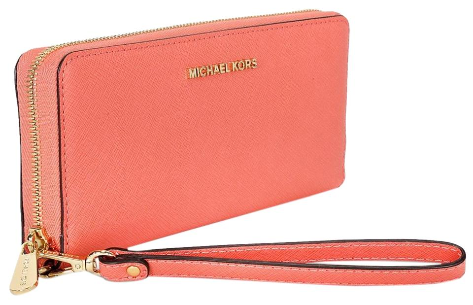 327bc6a0c7 Michael Kors Pink Grapefruit Jet Set Travel Continental Wallet - Tradesy