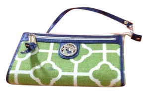 Spartina 449 Wristlet in Green/Navy, green and cream natural linen and genuine navy leather