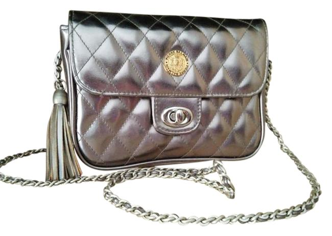 Item - Pierre Quilted Metallic Silver Leather Cross Body Bag