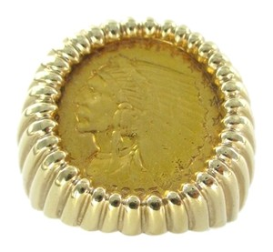 22K GOLD COIN ON 14KT SOLID YELLOW FRAME RING INDIAN HEAD USA 2 1/2 DOLLARS 10.5