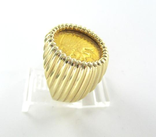 Other 22K GOLD COIN ON 14KT SOLID YELLOW FRAME RING INDIAN HEAD USA 2 1/2 DOLLARS 10.5