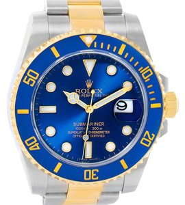 Rolex Submariner Steel 18K Yellow Gold Blue Dial Watch 116613