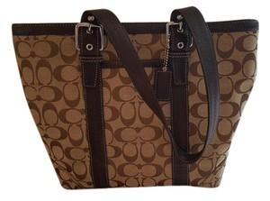 Coach Signature Jacquard Leather Tote in Brown, Tan