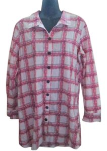 BCBGeneration Tunic Plaid Shirt Casual Button Down Shirt Pink & White