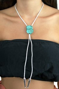 Daisy Del Sol White Braided Leather Bolo Tie with Turquoise Stone
