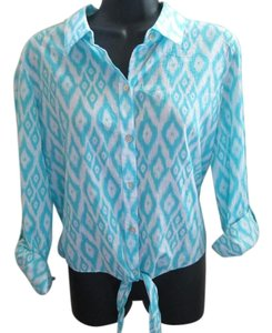 Chico's Ikat Metallic Tie Front Shirt Button Down Shirt Aqua & White