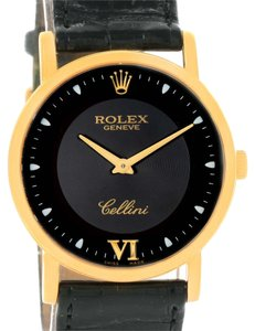 Rolex Rolex Cellini Classic 18K Yellow Gold Black Dial Watch 5115 Box Papers