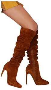 Jeffrey Campbell Over The Knee Suede Chestnut Boots