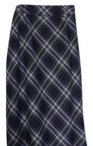 Talbots Maxi Skirt Greys, off-white, shades of lilac plaid