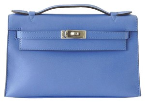 Hermès Kelly Pochette Leather Palladium Blue Paradis Clutch