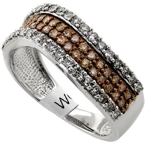 ABC Jewelry 3/4 ct Chocolate and white diamond ladies fashion band. All 14Kt white gold .75 ct TW