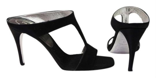 Prada Satin Open Toe T Strap Heel Slide Black Sandals