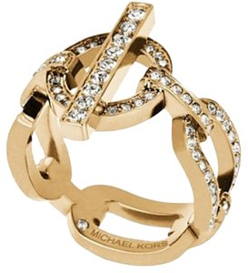 Michael Kors NWT Size 8 Stainless Steel Gold Tone Pave Crystals Toggle Link Ring