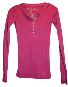 Aéropostale T Shirt Dark pink with interwoven silver