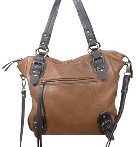 Lucky Brand Fringe Crossbody Leather Tote in Cognac