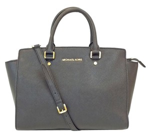 Michael Kors Selma Saffiano Convertible Satchel in Black