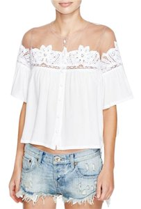 For Love & Lemons Carmine Button Down Shirt White/Ivory